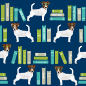 Jack Russell Terrier library books pattern blue