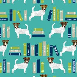 Jack Russell Terrier library books pattern teal