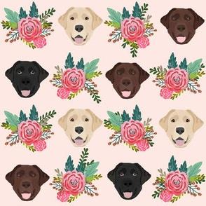 Labrador floral dog pattern pink cream
