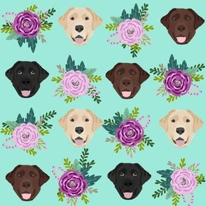 Labrador floral dog pattern bright
