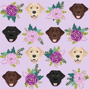 Labrador floral dog pattern purple