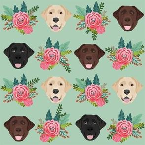 Labrador floral dog pattern mint