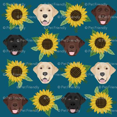 Labrador floral sunflower dog pattern blue green
