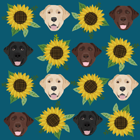 Labrador floral sunflower dog pattern blue green fabric by petfriendly on Spoonflower - custom fabric