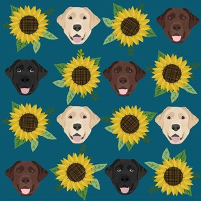 Labrador floral sunflower dog pattern blue green