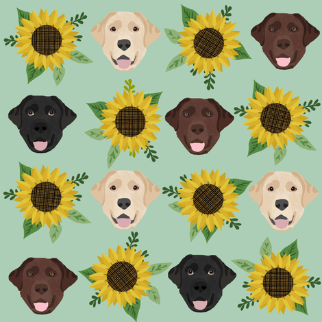 Labrador floral sunflower dog pattern mint fabric by petfriendly on Spoonflower - custom fabric