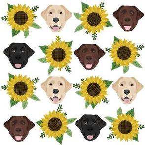 Labrador floral sunflower dog pattern white