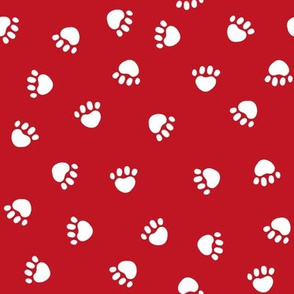 Paws christmas minimal pattern red