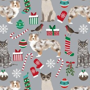 Aussie australian shepherd christmas fabric custom