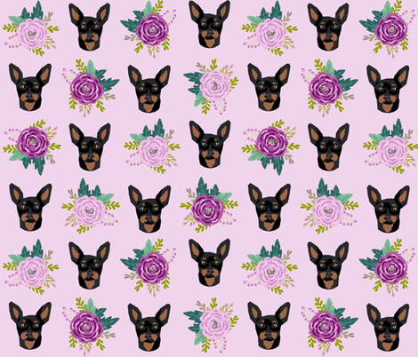 min pin floral fabric  miniature pinscher dog design - larger version fabric by petfriendly on Spoonflower - custom fabric
