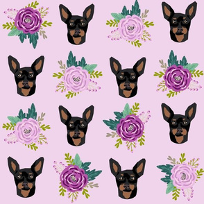 min pin floral fabric  miniature pinscher dog design - larger version