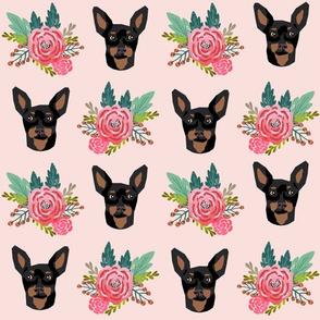 min pin floral fabric  miniature pinscher dog design - larger version