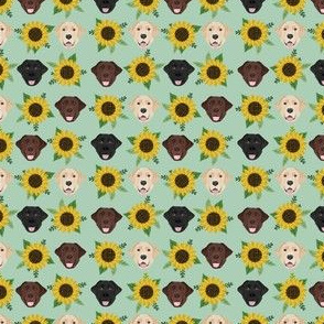 labrador fabric mini print sunflower fabric  dogs and flowers design
