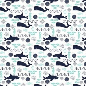 mini print micro print shark nautical navy and mint