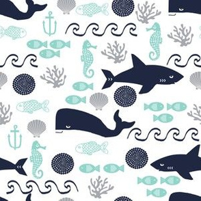 nautical shark mint and navy fabric