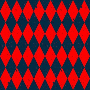 Gritty Harlequin (red & blue)