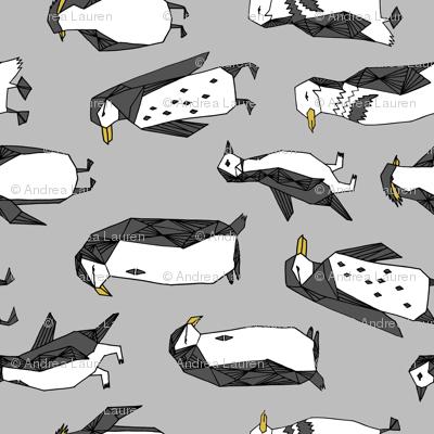penguins fabric // grey penguin winter bird birds nursery baby grey kids