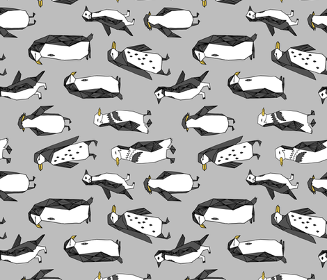 penguins fabric // grey penguin winter bird birds nursery baby grey kids  fabric by andrea_lauren on Spoonflower - custom fabric