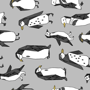 penguins fabric // grey penguin winter bird birds nursery baby grey kids