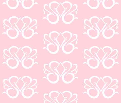 Diamond Swirl Damask 1- Light Pink fabric by essieofwho on Spoonflower - custom fabric