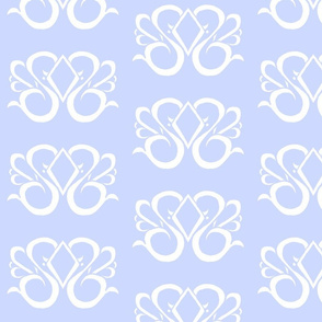 Diamond Swirl Damask 1- Light Blue