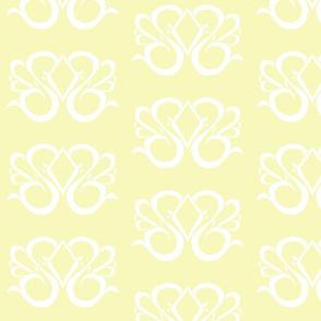 Diamond Swirl Damask 1- Light Yellow