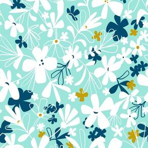 Eloise - Floral Aqua