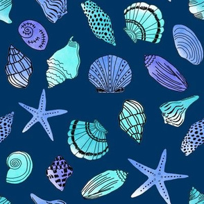 shells fabric // nautical summer shell design beach summer blue watercolor  fabric - turquoise navy