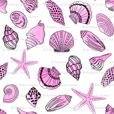 shells fabric // nautical summer shell design beach summer blue watercolor  fabric - pink