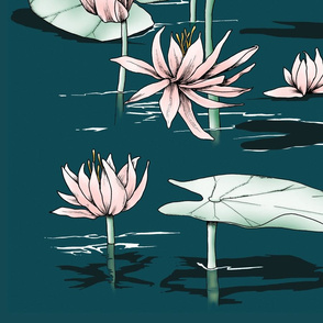 brownwilliam Water Lily on Turquoise