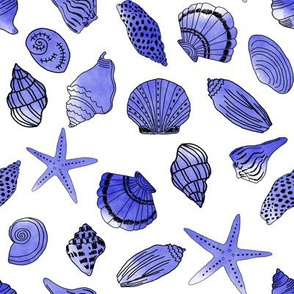 shells fabric // nautical summer shell design beach summer blue watercolor  fabric - blue
