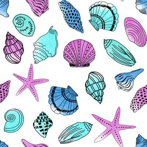 shells fabric // nautical summer shell design beach summer blue watercolor  fabric - mint purple