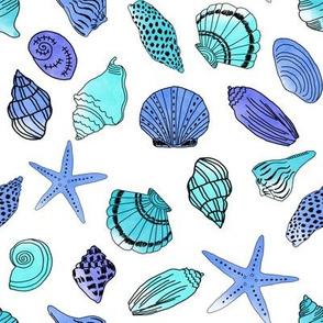 shells fabric // nautical summer shell design beach summer blue watercolor  fabric - blue turquoise