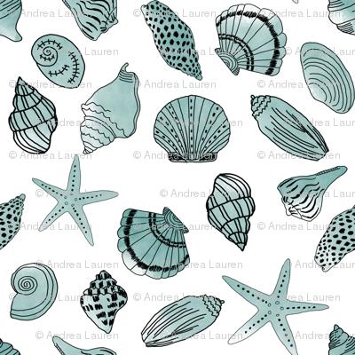 shells fabric // nautical summer shell design beach summer blue watercolor  fabric - mint