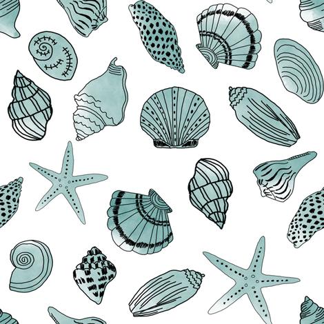 shells fabric // nautical summer shell design beach summer blue watercolor  fabric - mint fabric by andrea_lauren on Spoonflower - custom fabric