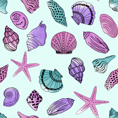 shells fabric // nautical summer shell design beach summer blue watercolor  fabric - purple fabric by andrea_lauren on Spoonflower - custom fabric
