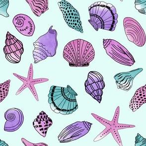 shells fabric // nautical summer shell design beach summer blue watercolor  fabric - purple
