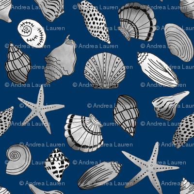 shells fabric // nautical summer shell design beach summer blue watercolor  fabric - navy
