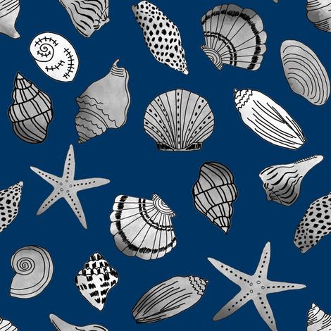 shells fabric // nautical summer shell design beach summer blue watercolor  fabric - navy fabric by andrea_lauren on Spoonflower - custom fabric
