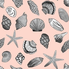 shells fabric // nautical summer shell design beach summer blue watercolor  fabric - blush and grey