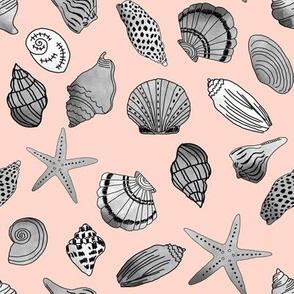 shells fabric // nautical summer shell design beach summer blue watercolor  fabric - blush and grey