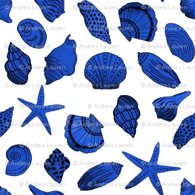 shells fabric // nautical summer shell design beach summer blue watercolor  fabric - cobalt blue