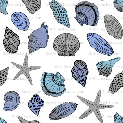 shells fabric // nautical summer shell design beach summer blue watercolor  fabric - white