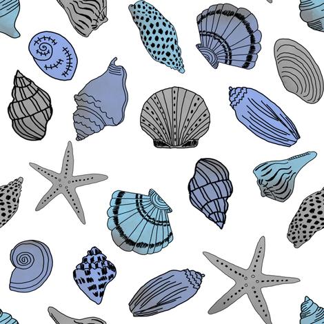 shells fabric // nautical summer shell design beach summer blue watercolor  fabric - white fabric by andrea_lauren on Spoonflower - custom fabric