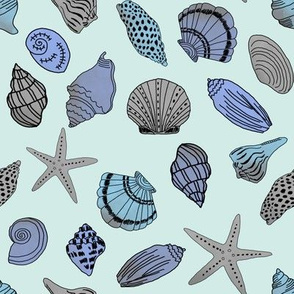 shells fabric // nautical summer shell design beach summer blue watercolor  fabric - mint