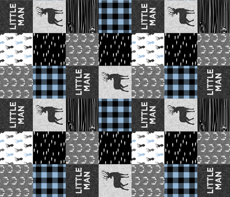 little man - baby blue and black (buck) quilt woodland -90 fabric by littlearrowdesign on Spoonflower - custom fabric