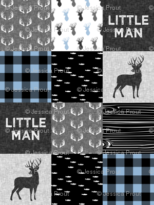 little man - baby blue and black (buck) quilt woodland