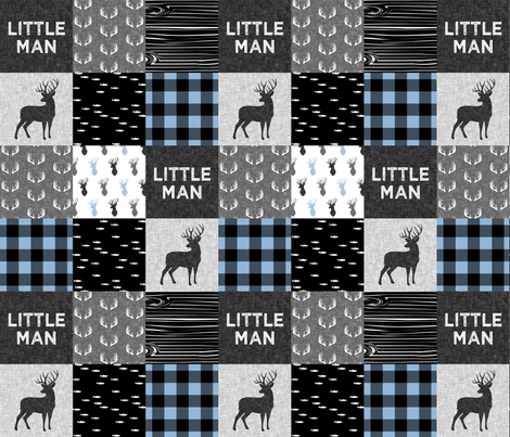 little man - baby blue and black (buck) quilt woodland fabric by littlearrowdesign on Spoonflower - custom fabric