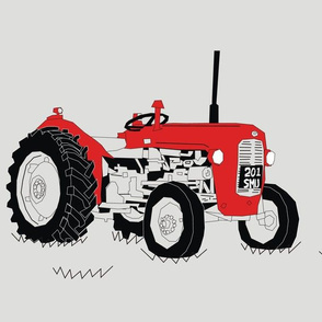 Red Vintage Tractor Large