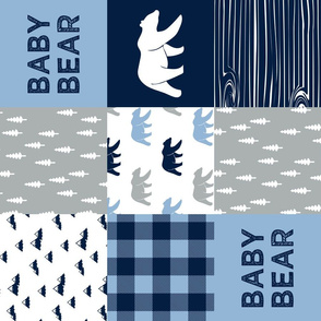 baby bear patchwork quilt top || navy and baby blue (90)